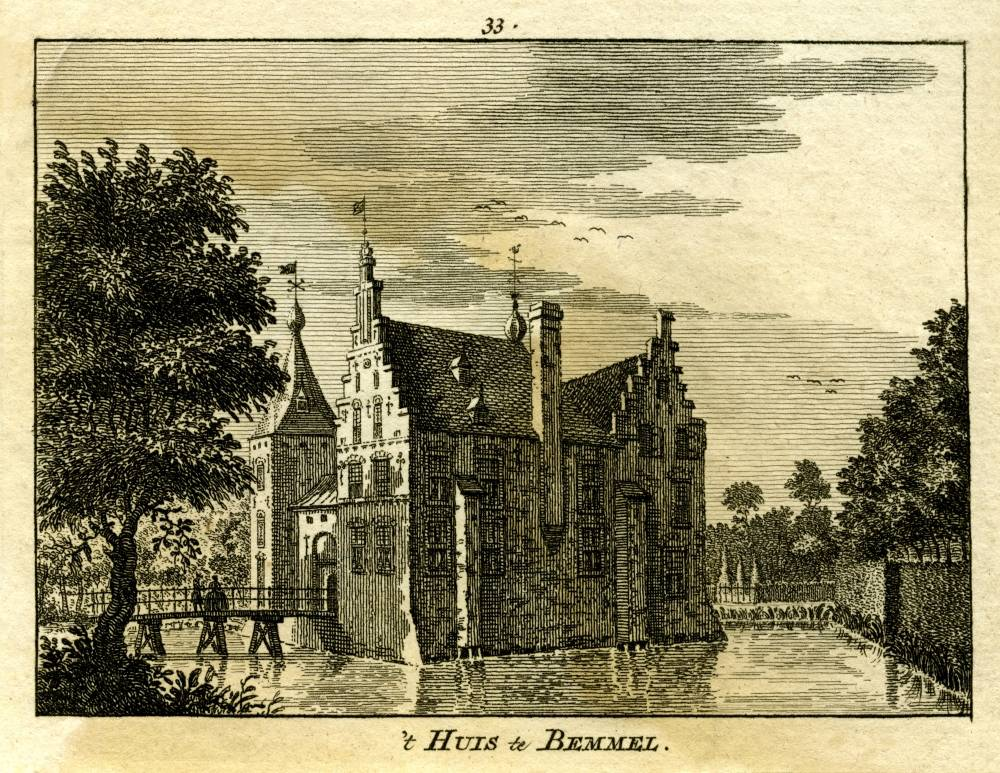 Huize Bemmel in Bemmel. Tekening Jan de Beijer, gravure Simon Fokke (Uit: Het Verheerlykt Nederland, Isaac Tirion, 1745/1774)